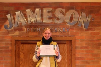 Leah graduates Whisky School @Old Jameson Distillary