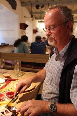 Dad & I sharing a Sausage Platter