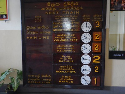 Timetable at Kandy Station