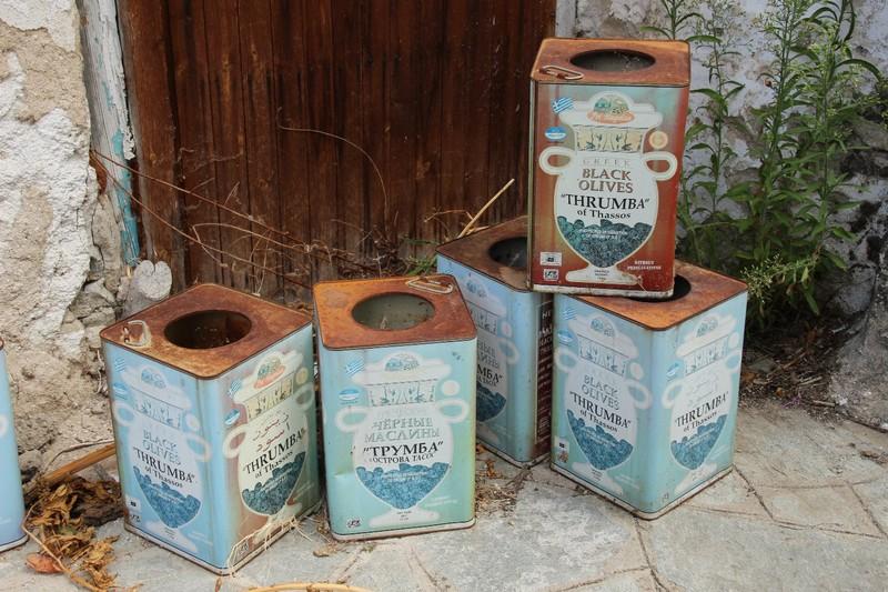 Old olive tins