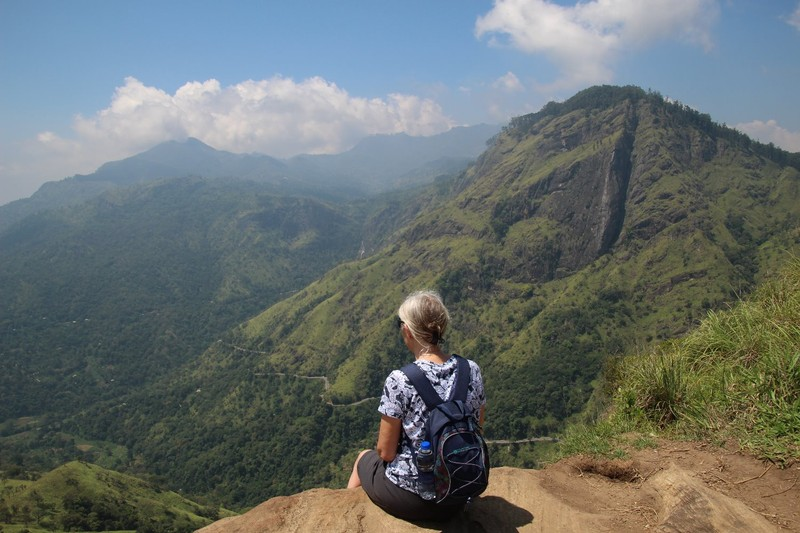 Admiring the view at the top of Little Adam's Peak