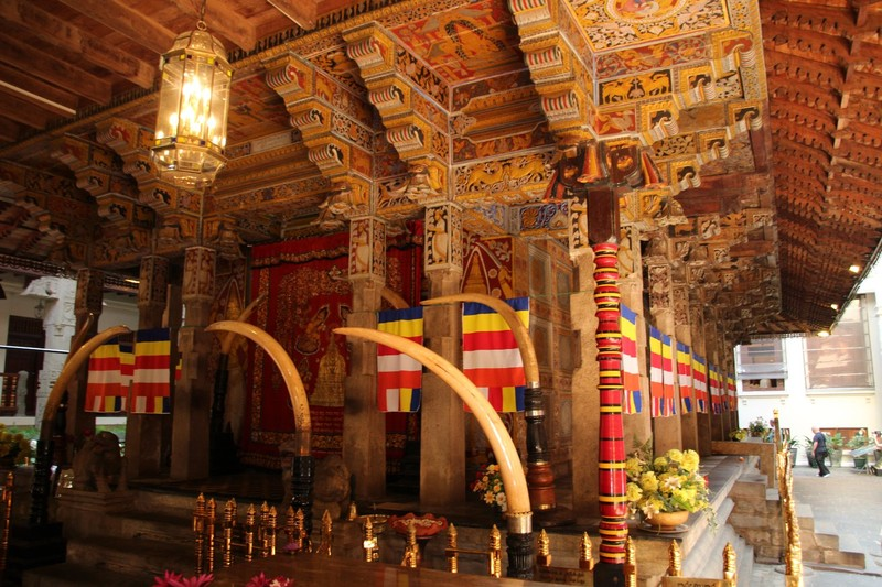 Inside the Temple of the Tooth in Kandy