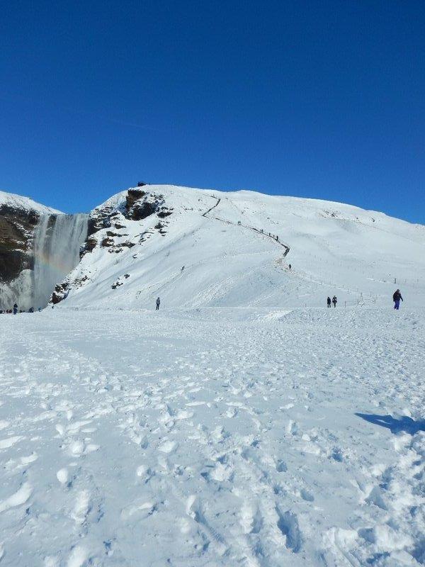 Steep Climb To The Top Of Skogafoss