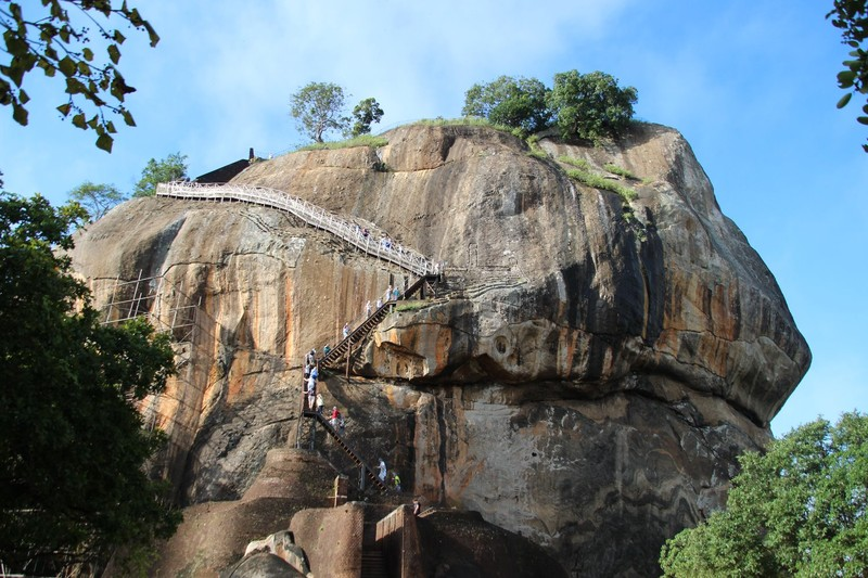 Climbing up Sigiriya Rock