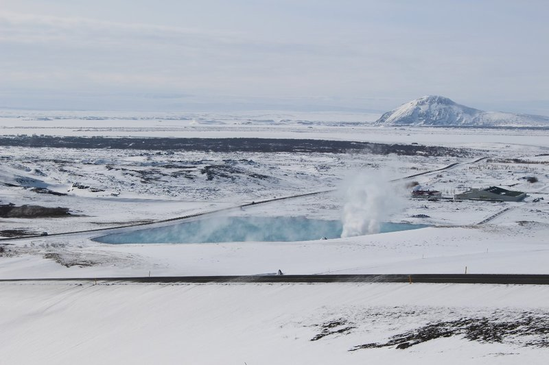 Blue pool near the geothermal power station Myvatn