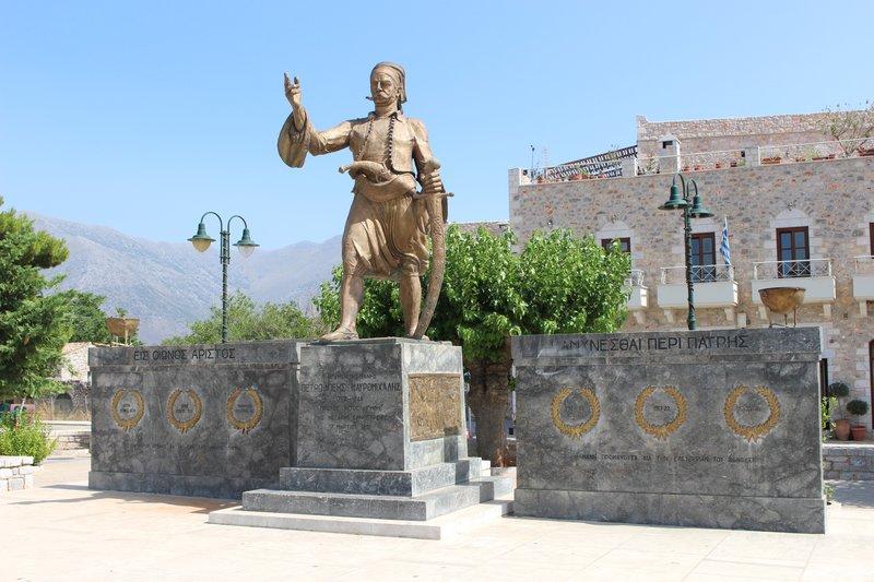 Statue in areopoli town square