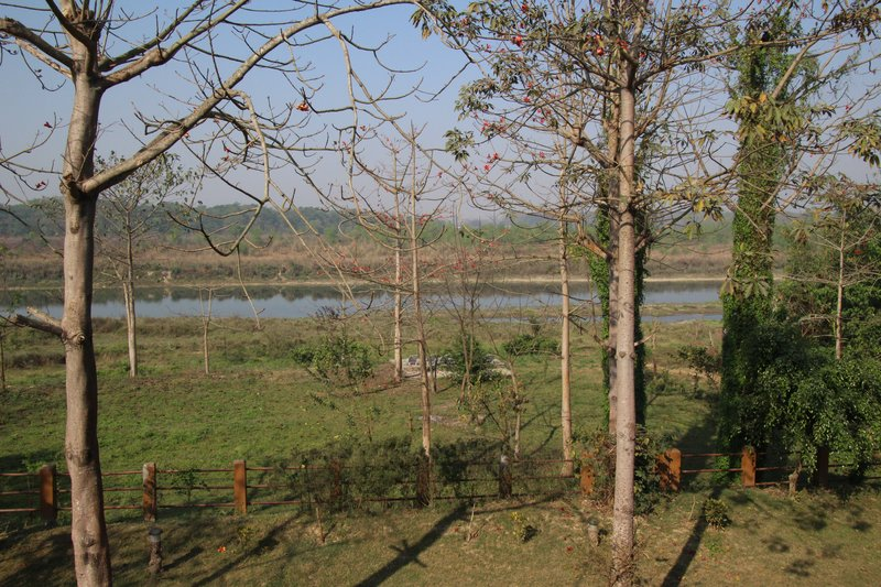 Hotel grounds going down to the Rapti River