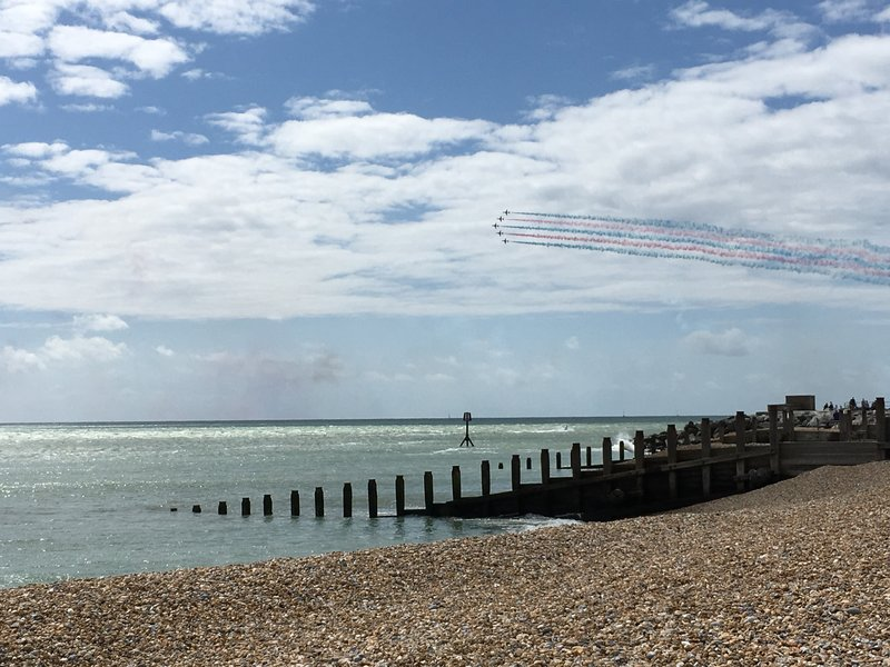 The Red Arrows over the beach