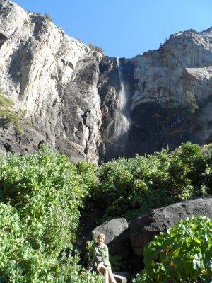 Sharon at the base of Bridal Veil Falls