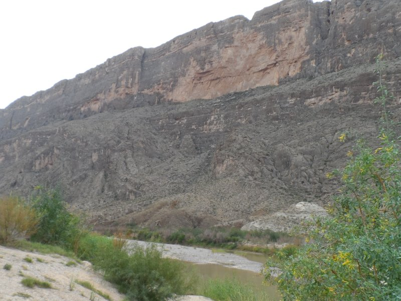 The Rio Grande runs along this wall, which is on the Mexican side.