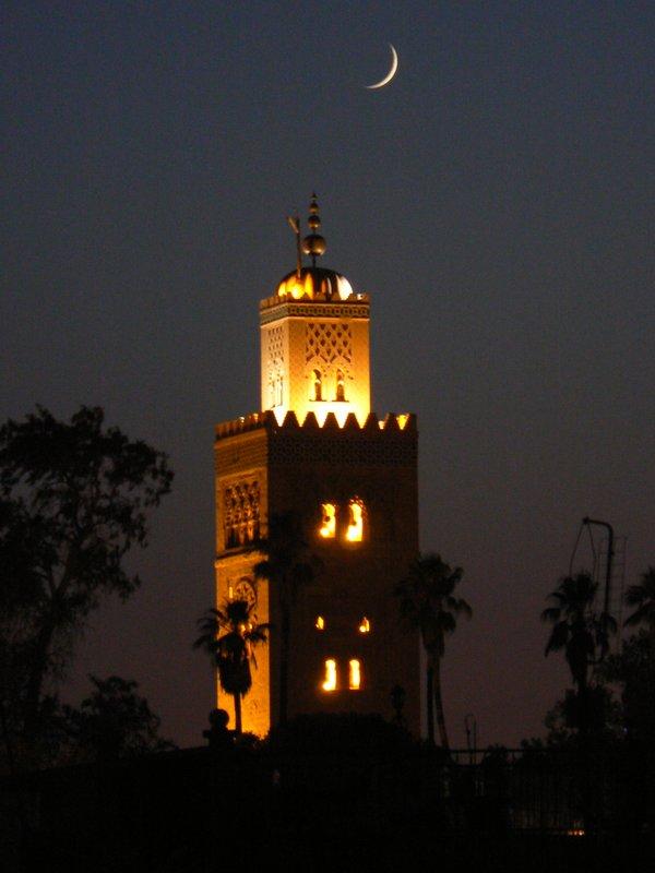 Cresent moon over mosque
