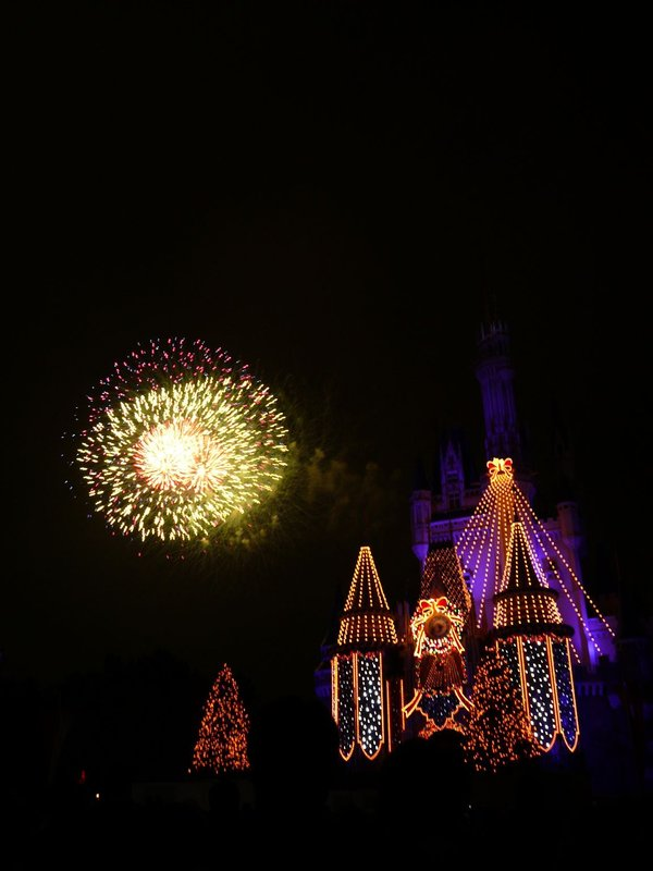 Disneyland Castle fireworks (yellow)