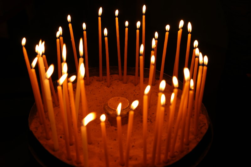 Candles inside the Church of the Holy Sepulchre, Jerusalem