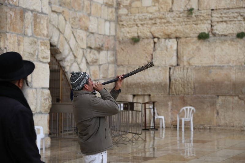Blowing the Ram's Horn, Western Wall, Jerusalem