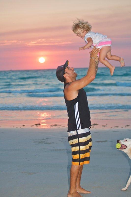 Cedar with Dad on Cable Beach