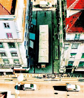 Looking Down from Justa Elavator Viewing Deck Lisbon Portugal