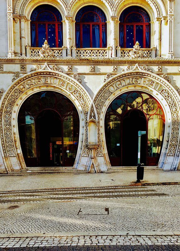 Entrance to Rossio Station Lisbon Portugal