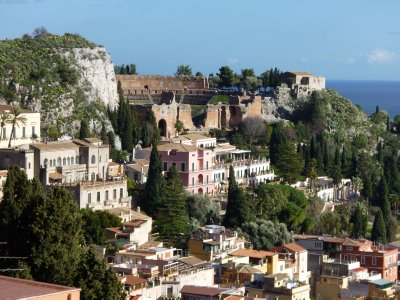 Taormina: View from near castle above town