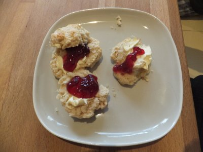 Homemade Mother's Day scones with clotted cream and jam - thanks, Hannah!