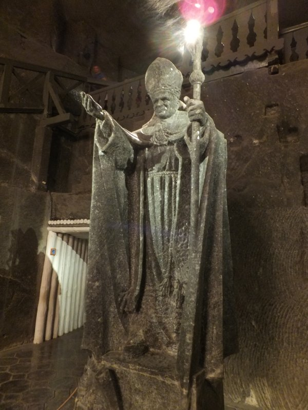 Pope John Paul II Carved in Rock Salt