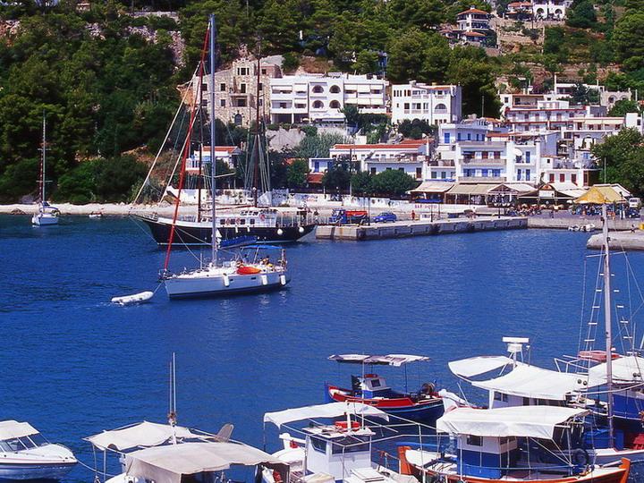 Alonissos the harbour of Patitiri