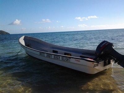 white sandy boat