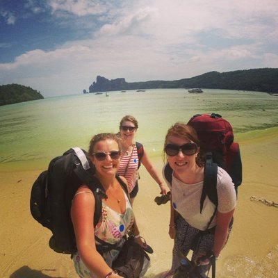backpackers on the beach koh phi phi