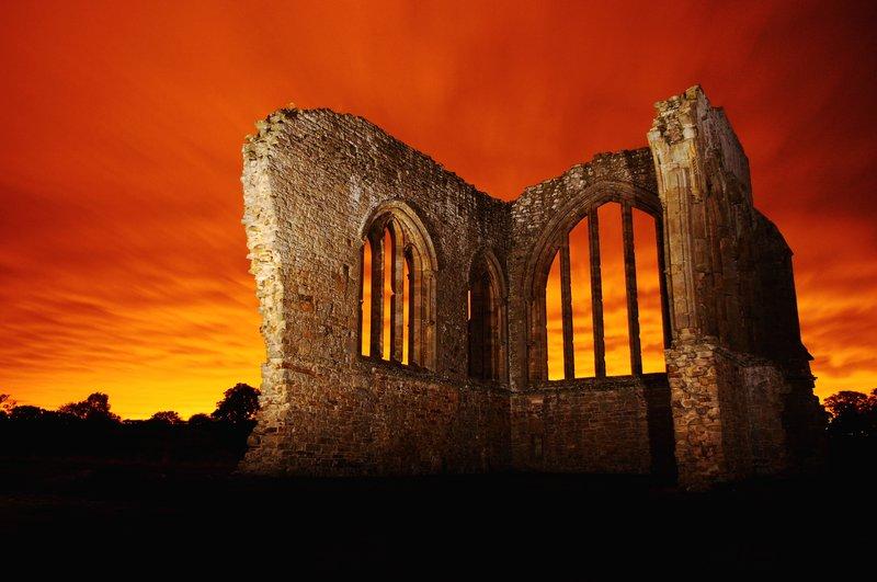 Eggleston Abbey Ruins at Midnight