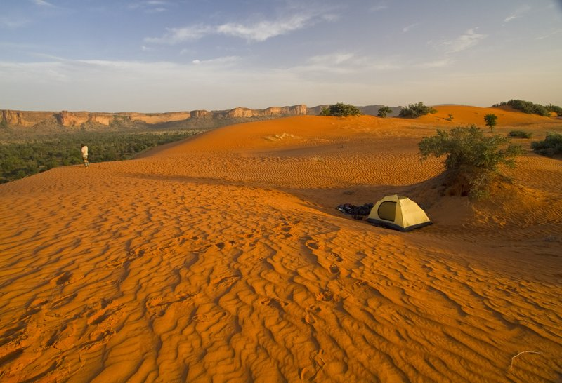 Camping at the edge of the desert, Mali