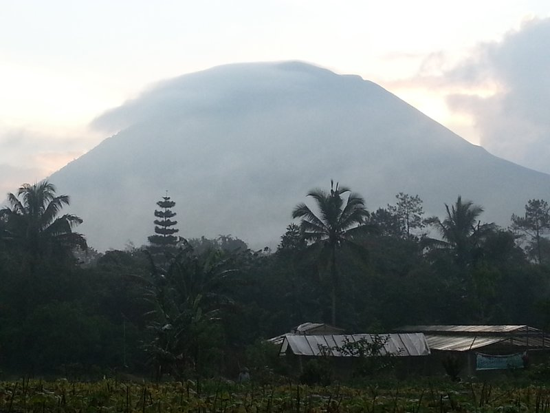 Volcano behind our guesthouse at dusk