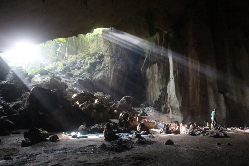 Sunlight streaming into our cave