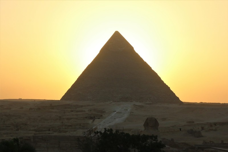 Pyramid with Sphinx at Sunset
