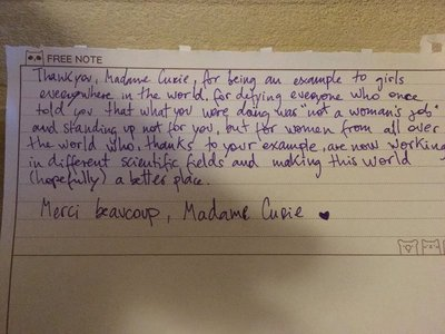 Note to Marie Curie