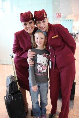 Olivia with the Qatar Airways staff