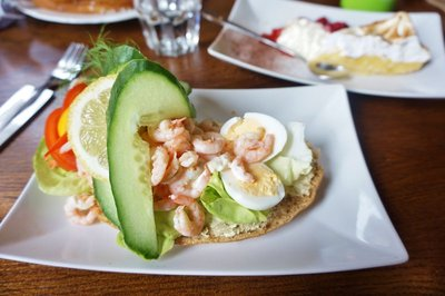 Prawn and egg open sandwich