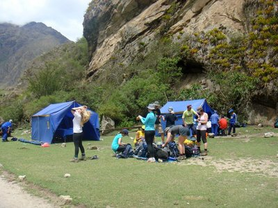 First lunch site along Inca Trail