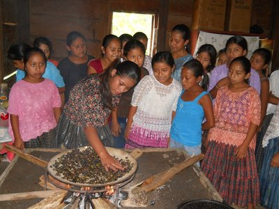 Quek'chi Girls Learning to Toast Maya Nut (photo Marleny Rosales Meda)
