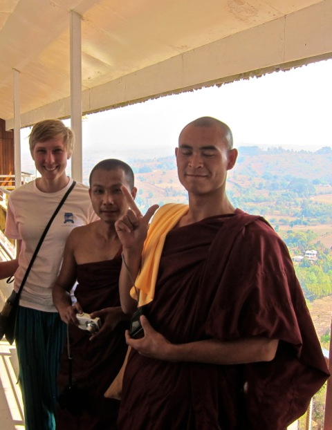 Buddhist monks who asked to take a picture with me outside the natural caves