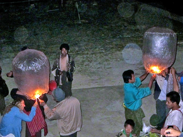 Lantern celebration at the monastery with the local village