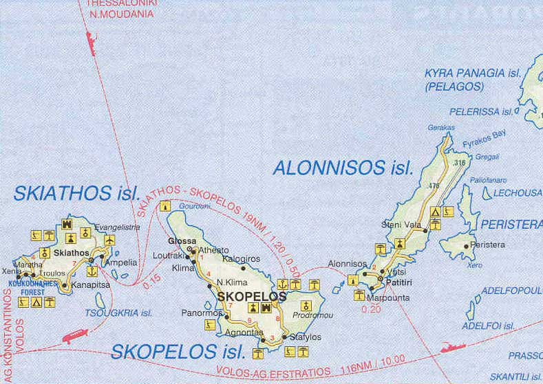 Sporades islands of Greece map