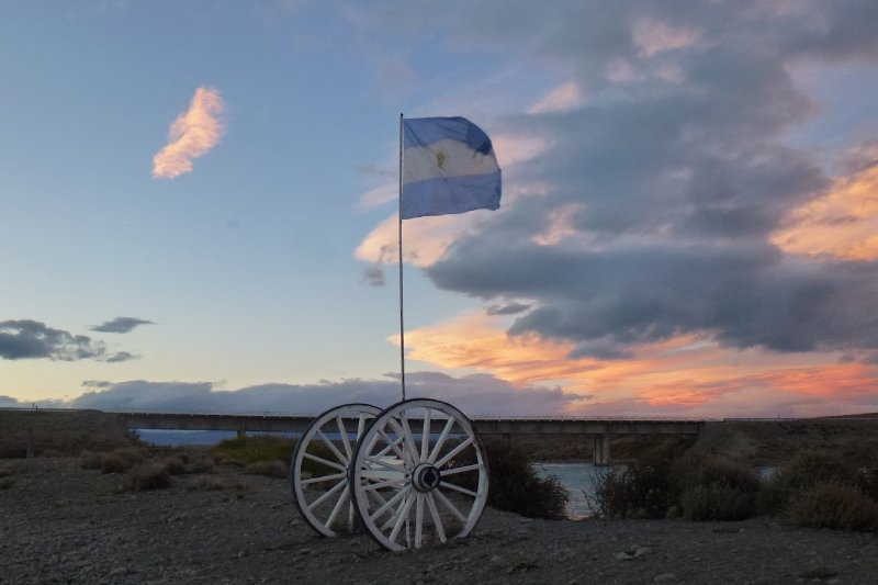 Argentinian Flag at Sunset