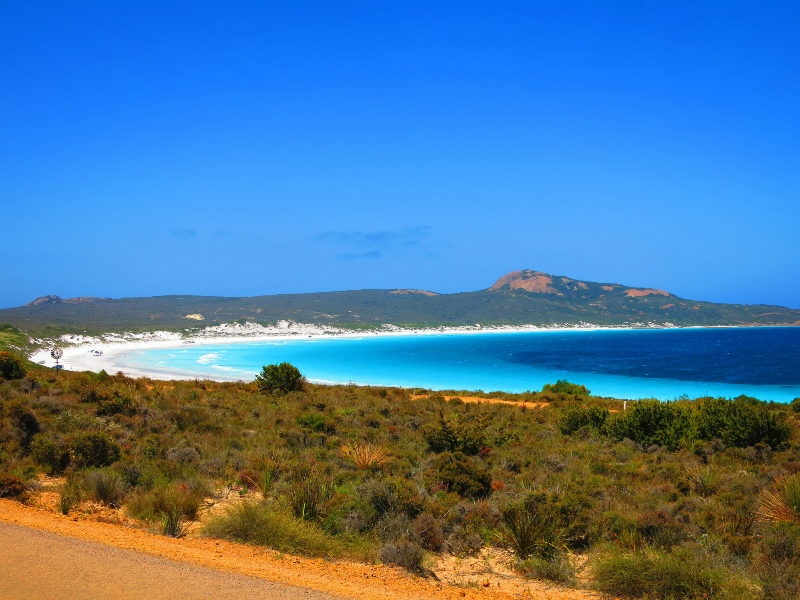 First view of breathtaking Lucky Bay
