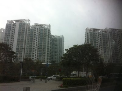 Apartment complexes like these line the streets