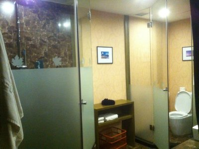 """the """"really cool"""" bathroom that has a separate enclosed space for the toilet"""