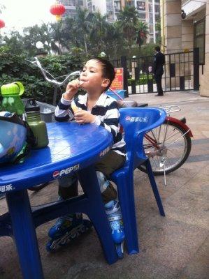 Skyler enjoying an ice cream the day he learned to skate