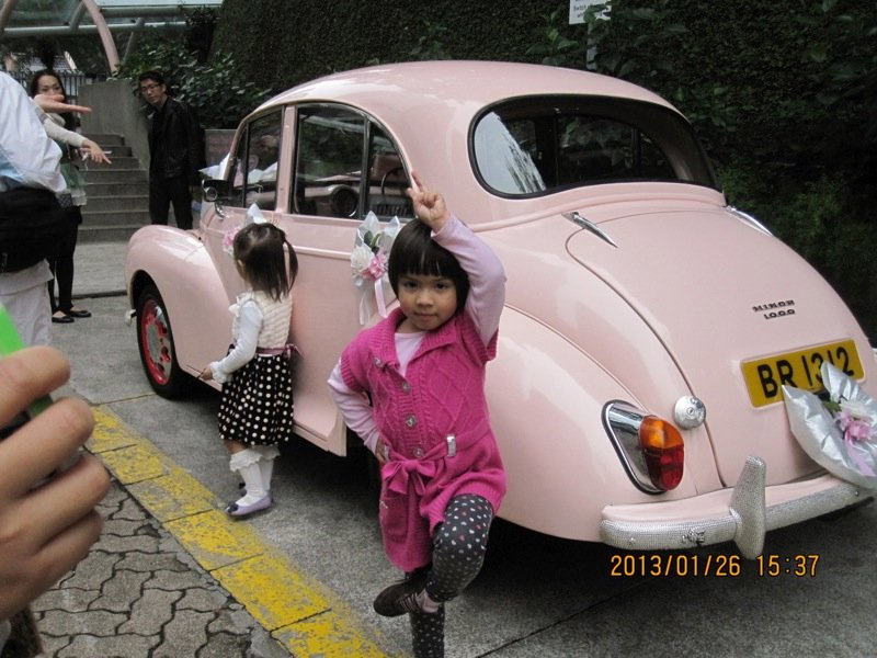Ellie with the pink beetle