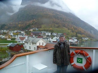 Me at Undredal - looking very cold and wet!