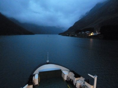It was getting dark towards the end of our ferry trip