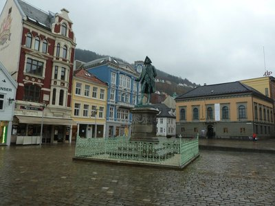 Ludwig Holberg's Statue in the square by Bergen Fish Market