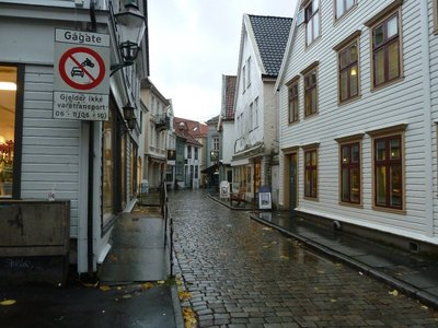 Typical cobbled street near Bergen Railway Station